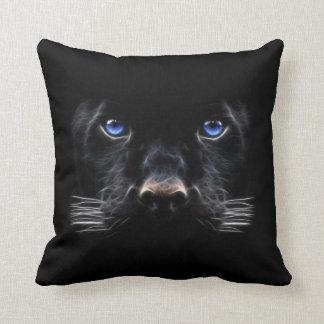 Blue Eyes Black Panther Throw Pillow