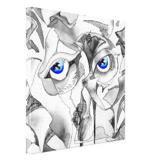 Blue eyes graffiti art canvas print