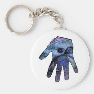 Blue Eyes in Hand Outline Basic Round Button Keychain