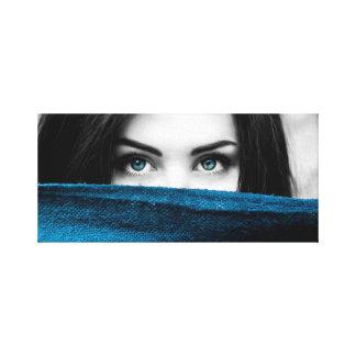 """Blue Eyes Woman 12"""" x 12"""", 1.5"""" Wall Canvas Art"""