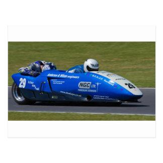 Blue F2 sidecar Postcard