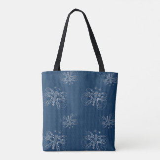 Blue fabric texture with butterflies pattern tote bag