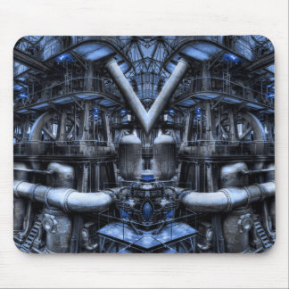 blue factory mouse pad