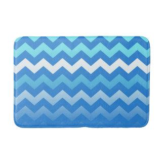 Blue Fade Chevron Pattern Bath Mat