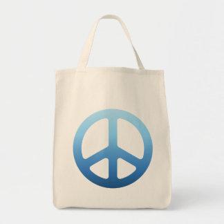 Blue Fade Peace Sign Tote Bags