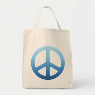 Blue Fade Peace Sign Tote Bag