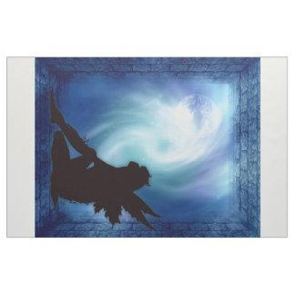 Blue Faery Silhouette Borealis Fabric