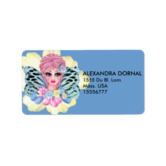 BLUE FAIRIE CARTOON  ADRESS Labels