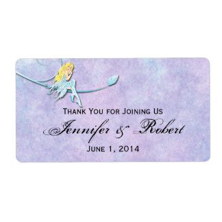 Blue Fairy on Purple Watercolor Water Bottle Label Shipping Label