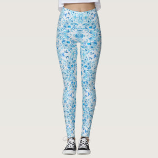 Blue Fallen Leaves Leggings