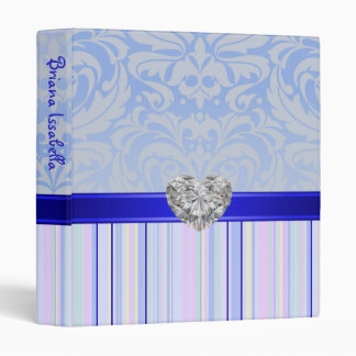 Blue Fanciful Faux Jewel Baby Album Binder