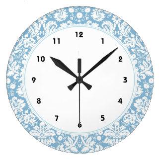 Blue fancy damask pattern large clock
