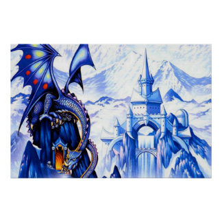 Blue Fantasy Dragon Poster