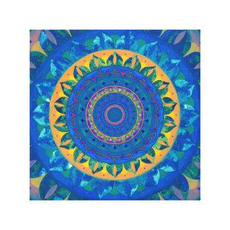 Blue fantasy mandala canvas print