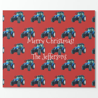 Blue Farm Tractors on Red Christmas Wrapping Paper
