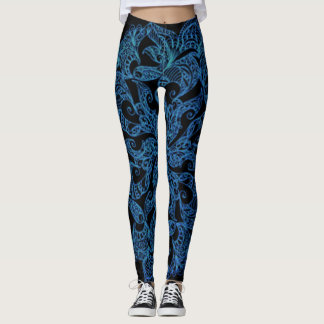 Blue, fashion print, pattern leggings