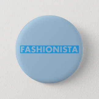 Blue Fashionista Bold Text Cutout 2 Inch Round Button