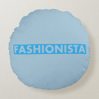 Blue Fashionista Bold Text Cutout Round Pillow