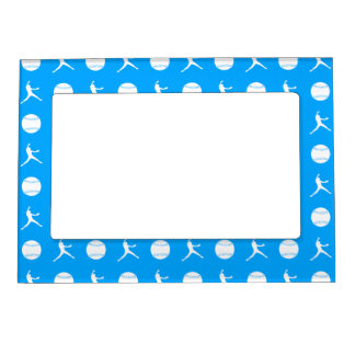 Blue Fastpitch Pattern Magnetic Picture Frame