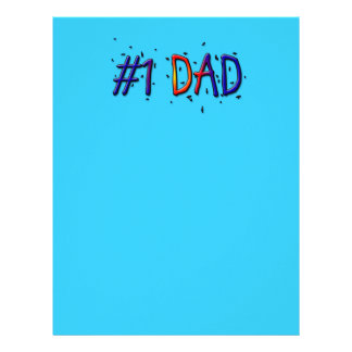 Blue Father's Day #1 Dad Customized Letterhead