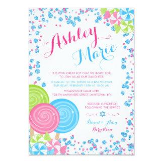 Blue Faux Glitter Candy Bat Mitzvah Invitations
