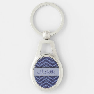 Blue Faux Glitter Chevron Personalized Keychain