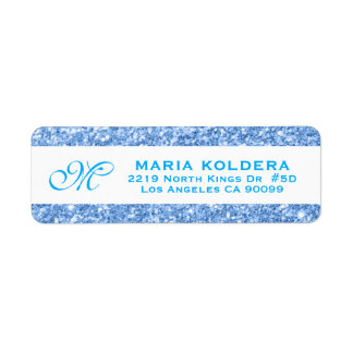 Blue Faux Glitter Custom Monogram