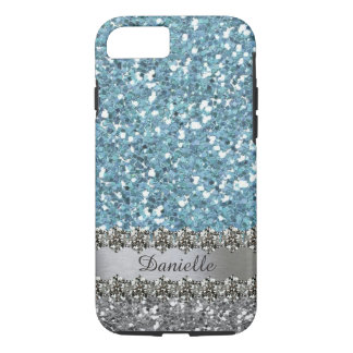 Blue Faux Glitter Diamond Bling Personalized iPhone 8/7 Case