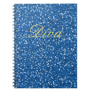 Blue Faux Glitter Diva Spiral Notebook
