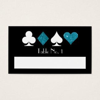 Blue Faux Glitter Las Vegas Blank Name Table Card