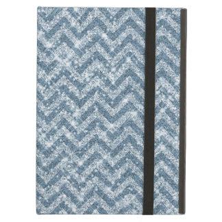 Blue Faux Glitter Sparkle Chevron Case For iPad Air