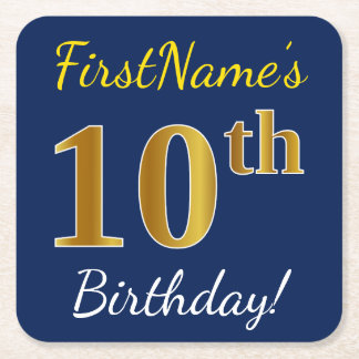 Blue, Faux Gold 10th Birthday + Custom Name Square Paper Coaster