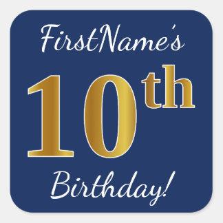 Blue, Faux Gold 10th Birthday + Custom Name Square Sticker