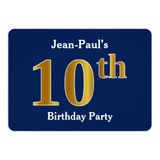 Blue, Faux Gold 10th Birthday Party + Custom Name Card