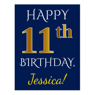 Blue, Faux Gold 11th Birthday + Custom Name Postcard