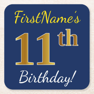 Blue, Faux Gold 11th Birthday + Custom Name Square Paper Coaster