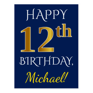 Blue, Faux Gold 12th Birthday + Custom Name Postcard