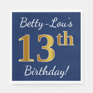 Blue, Faux Gold 13th Birthday + Custom Name Paper Napkins
