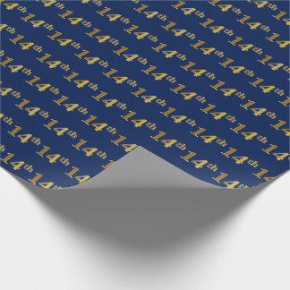 Blue, Faux Gold 14th (Fourteenth) Event Wrapping Paper