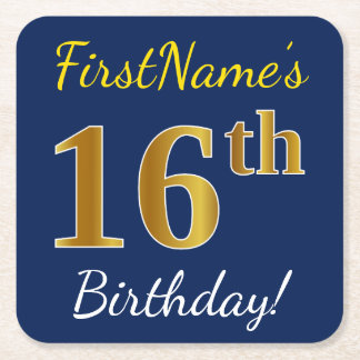 Blue, Faux Gold 16th Birthday + Custom Name Square Paper Coaster