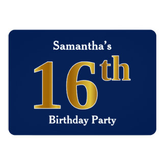 Blue, Faux Gold 16th Birthday Party + Custom Names Card