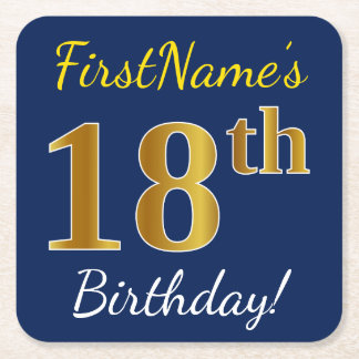 Blue, Faux Gold 18th Birthday + Custom Name Square Paper Coaster