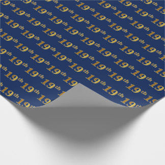 Blue, Faux Gold 19th (Nineteenth) Event Wrapping Paper