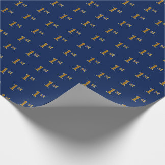 Blue, Faux Gold 1st (First) Event Wrapping Paper