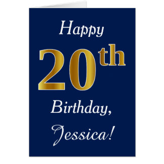 Blue, Faux Gold 20th Birthday + Custom Name Card