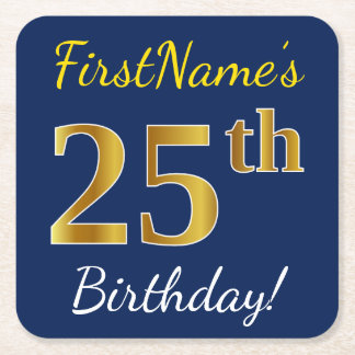 Blue, Faux Gold 25th Birthday + Custom Name Square Paper Coaster