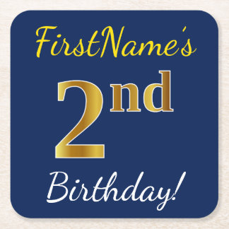 Blue, Faux Gold 2nd Birthday + Custom Name Square Paper Coaster