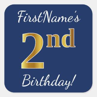 Blue, Faux Gold 2nd Birthday + Custom Name Sticker