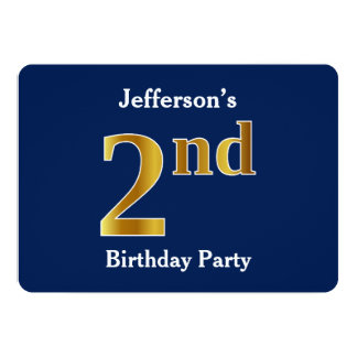 Blue, Faux Gold 2nd Birthday Party + Custom Name Card