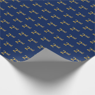 Blue, Faux Gold 2nd (Second) Event Wrapping Paper